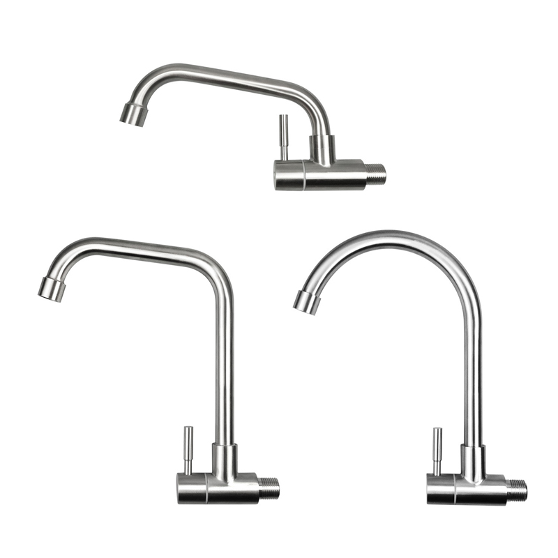 Stainless Steel Brushed Kitchen Basin Faucet Wall Mounted Single Cold Water Sink Tap 360 Degree Rotation Bathroom Water MixerStainless Steel Brushed Kitchen Basin Faucet Wall Mounted Single Cold Water Sink Tap 360 Degree Rotation Bathroom Water Mixer
