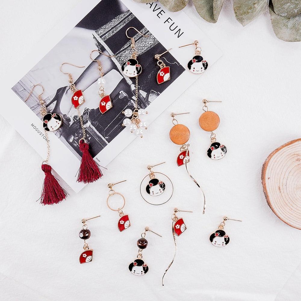 Japanese Ethnic Style Earrings Ladies Tassel Kimono Geisha Fans Fanu Pearl Pretty  Simple Dangle Dropping Earrings