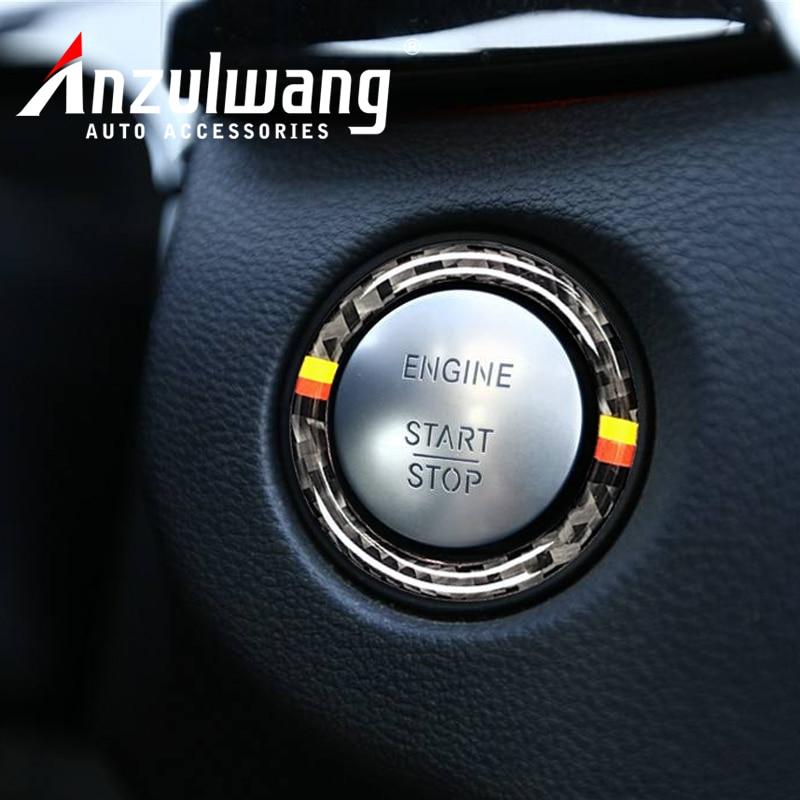 For Mercedes Benz C E Class W205 W213 GLC Car Engine Start Stop Ignition Key Ring Sticker Carbon Fiber Trim Interior Accessories
