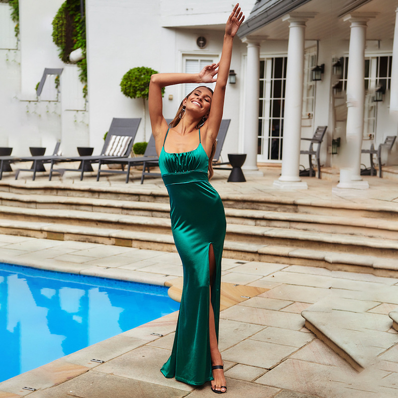 ZOGAA Green Satin Spaghetti Strap Split Sexy Long Dress Women Backless Sleeveless Bodycon Maxi Dress Evening Party Dresses 2019 in Dresses from Women 39 s Clothing