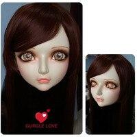 (DM002) Kadın Tatlı Kız Reçine Yarım Baş Kigurumi BJD Maske Cosplay Japon Anime Rol Lolita Gerçekçi Gerçek Maske Crossdress Doll