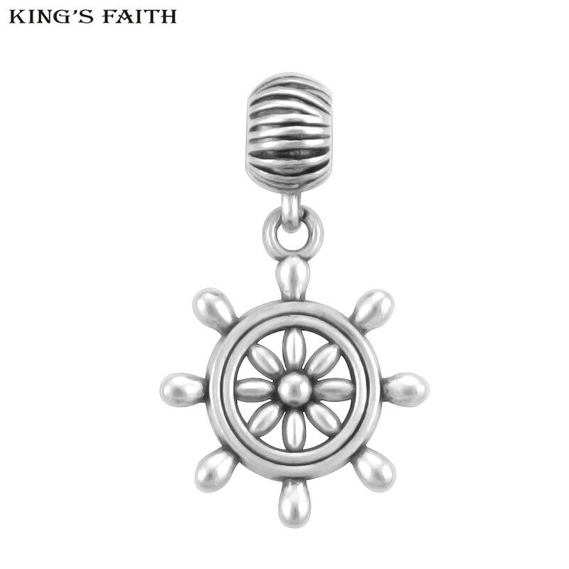 KING'S FAITH Silver Color Rudder Charm Pendants Fit