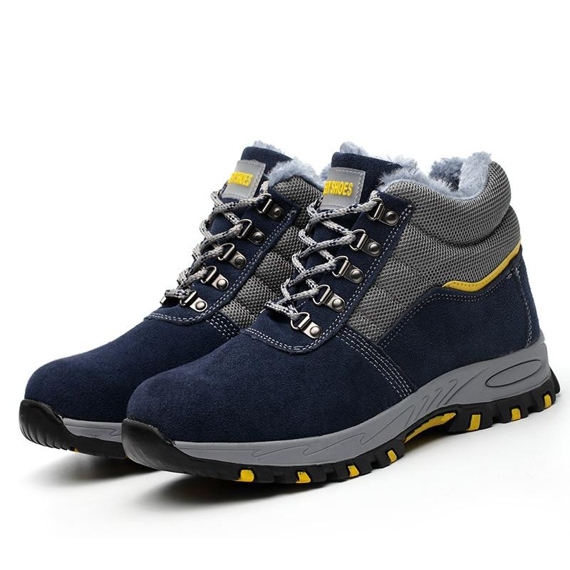 O Seguro Com Sapatos Velho Botas Altos Preto Trabalho Homens azul Para Ajudar Céu Inverno Dos Segurança Do Veludo De Biqueira Local Além Aço Protecção azul tqaHZax