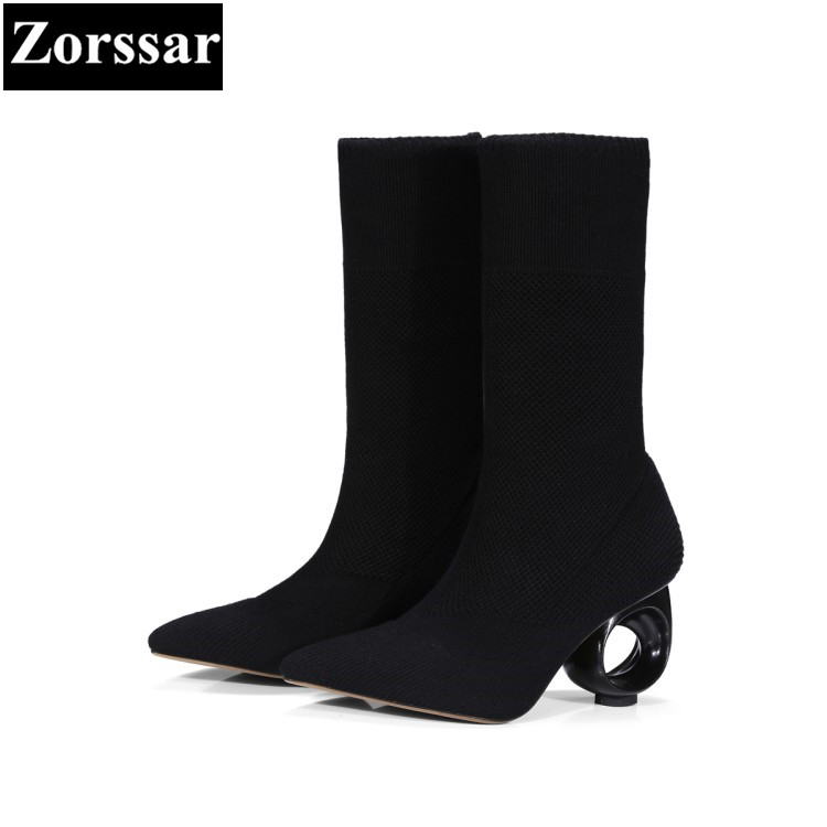 {Zorssar} 2017 NEW Fashion Strange style High heels Mid-Calf boots pointed Toe Stretch boots fashion Autumn winter womens shoes double buckle cross straps mid calf boots