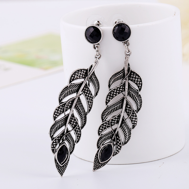 Silver Feather Earrings (artificial leaf style)