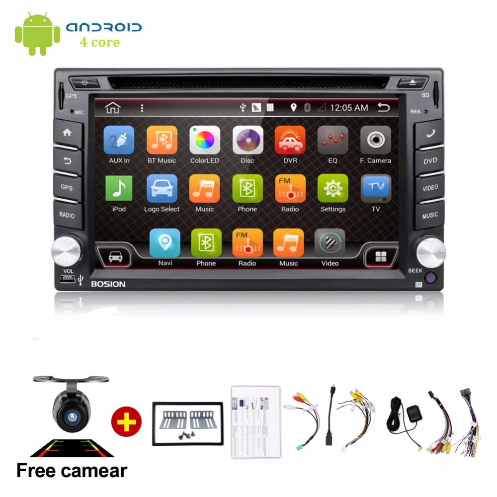 Android 6.0 Car DVD Stereo Fastest 2GHZ Quad Core Capacitive Multi-Touch Double 2 Din Car PC CD Stereo GPS TV BT WiFi 3G+CAMERA автомобильный dvd плеер isudar 2 din 7 dvd ford mondeo s max focus 2 2008 2011 3g gps bt tv 1080p ipod