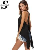 SunnyYeah Summer Sexy Tops Women 2017 Summer Backless Off Shoulder Shirt Black Open Slit Irregular Blouse