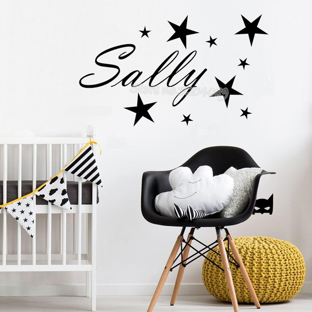 little stars wall sticker custom name personalised wall decal vinyl