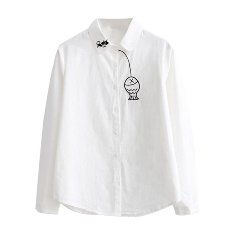 Casual Women Tops Blusas Fashion Fish Embroidery Long Sleeve Women Blouses Striped Shirt
