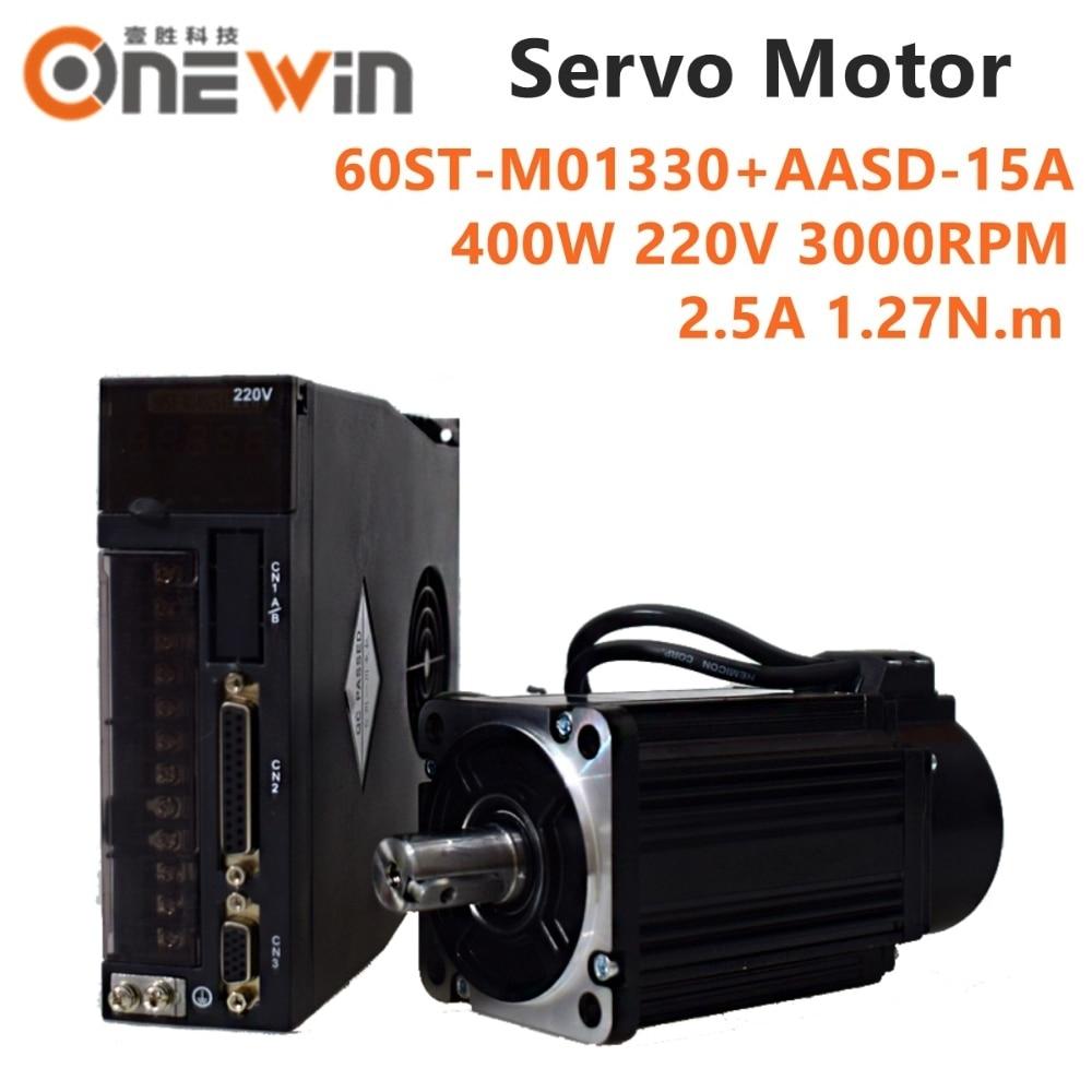 Image 2 - ONEWIN 400W AC servo motor kit 60ST M01330 + AASD 15A driver  diameter 60mm 220V 1.27NM 3000rpmAC Motor   -