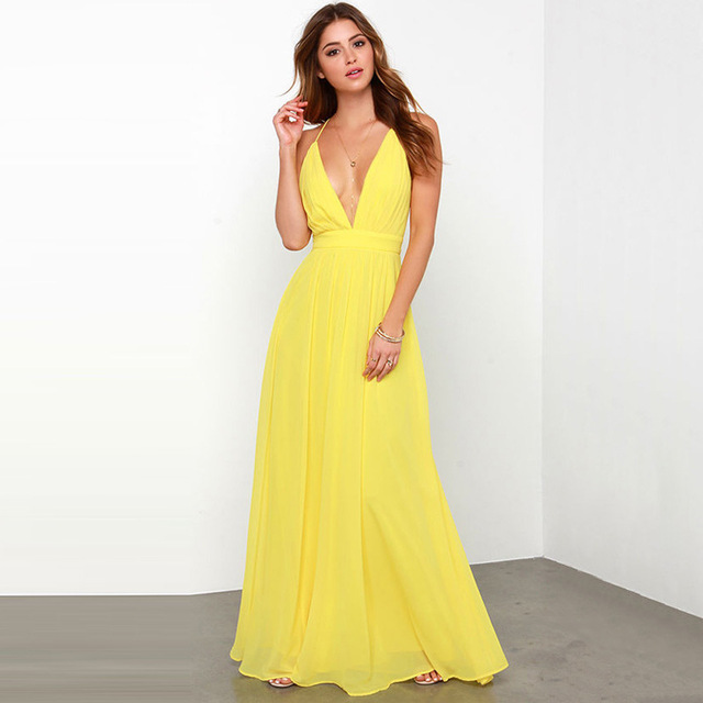 3695f491129981 Summer Women Clothing Chiffon Bandage Yellow Dress Evening Party Dresses  Prom Gown Maxi Boho Long Beach Dress Vestidos De Verano