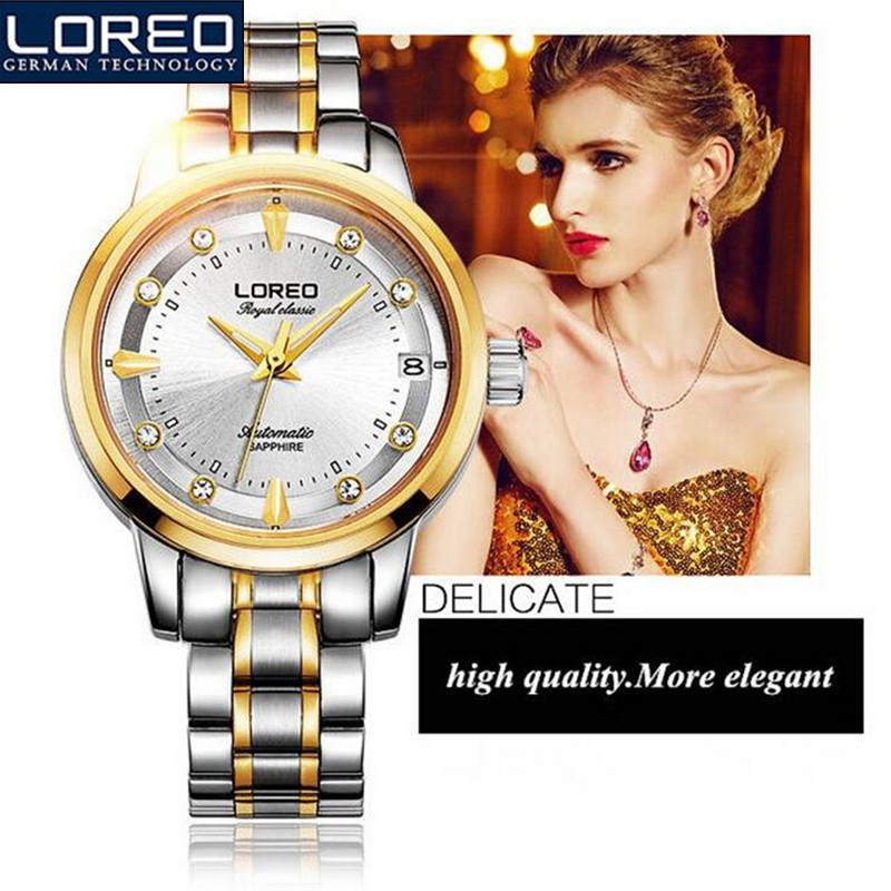 LOREO Original Stainless Steel Couple Watches Waterproof Business Leisure Motion Luxury Brand Mans Watch Wedding Gift AB2123 free shipping 2015 cotton padded jacket men s nick coat cotton padded jacket wool liner thick warm cotton denim outerwear