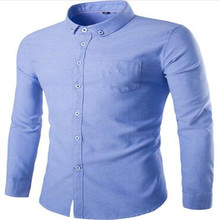 MEBOSYA Blue Solid Color Men's Formal Wear Long-sleeved Shirt Business Button Men's Oxford White Shirt for Autumn