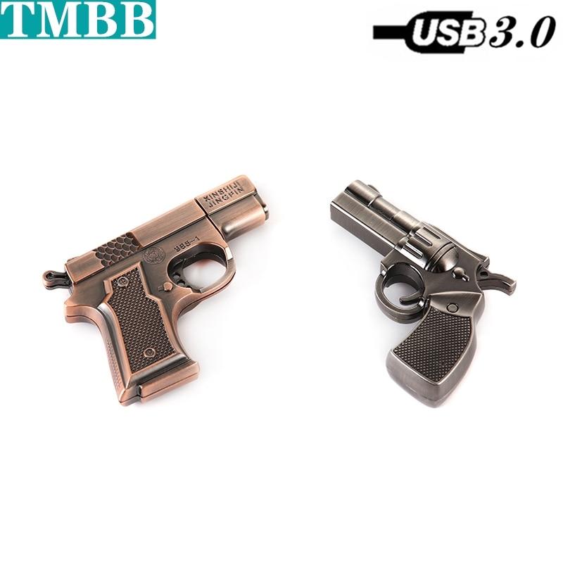 USB 3.0 Simulation Metal Silver Copper Gun USB Flash Drive Pistol Pen Drive 8GB 16GB 32GB 64GB 128GB 256GB U Disk Memory Stick