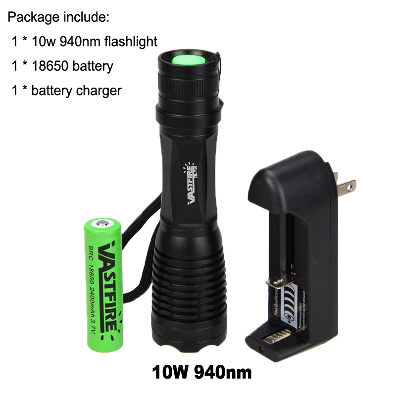 10W 940nm Infrared  IR-710 Zoom LED Night Vision Flashlight Hunting Torch 18650