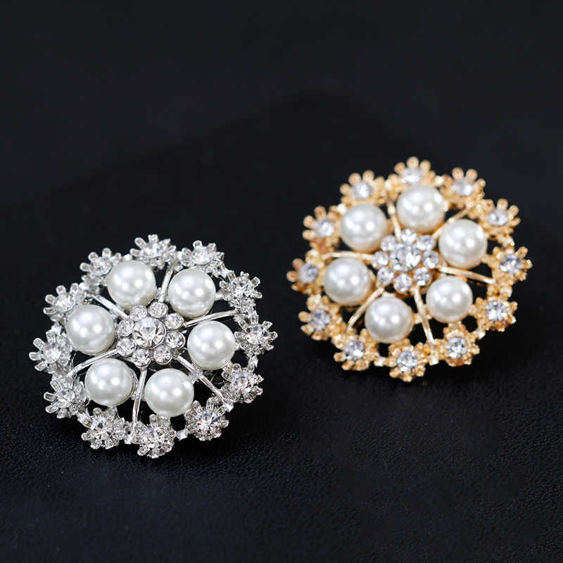 Menawan Rhinestone Disimulasikan Mutiara Bunga Bros untuk Wanita Syal Klip Sweater Bros Mantel Gaun Pin Pernikahan Perhiasan