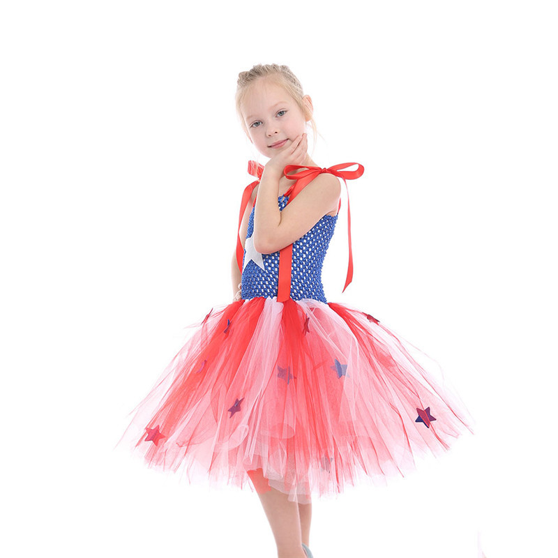 Red White and Blue Clothes Birthday Girl Toddler Kids Princess Short Captain America Dress Up Costume for Halloween