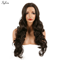 Sylvia 6 Nature Brown Color Lace Front Synthetic Wigs Bouncy Curly Hairstyle Long Soft Heat Resistant