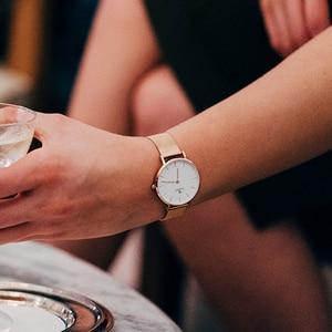 Image 5 - STARKING النساء الساعات الوردي الذهب سوار الفولاذ المقاوم للصدأ الكوارتز الإناث ساعة تقليلية 2017 موضة فستان السيدات عادية