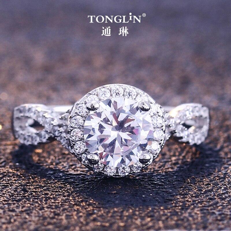 925 bagues en argent Sterling femmes classique rond plein Pave AAA cubique Zircon fiançailles mariage princesse anneau pour les filles