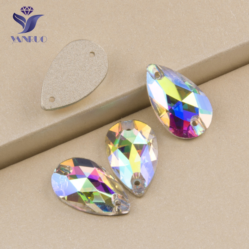YANRUO #3230 All Sizes AB Drop High Quality Sew On Stones Flatback Strass Crystal Glass Rhinestone For Sewing