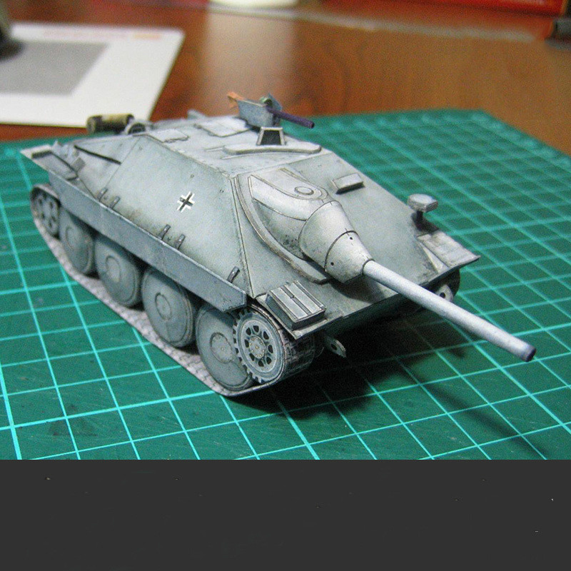 1:35 3D Paper Model German Stalker Tank Destroyer Paper Model Tank World Paper Model Girl and Chariot Military Collectible Gift image