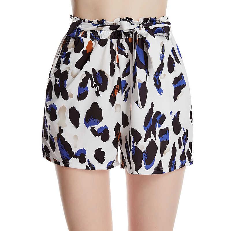Lato Hot sprzedaż szorty damskie moda drukuj kobiety spodnie kieszeń wysokiej talii odchudzanie paski spodenki dla dzieci dzikie kobiety spodenki szorty