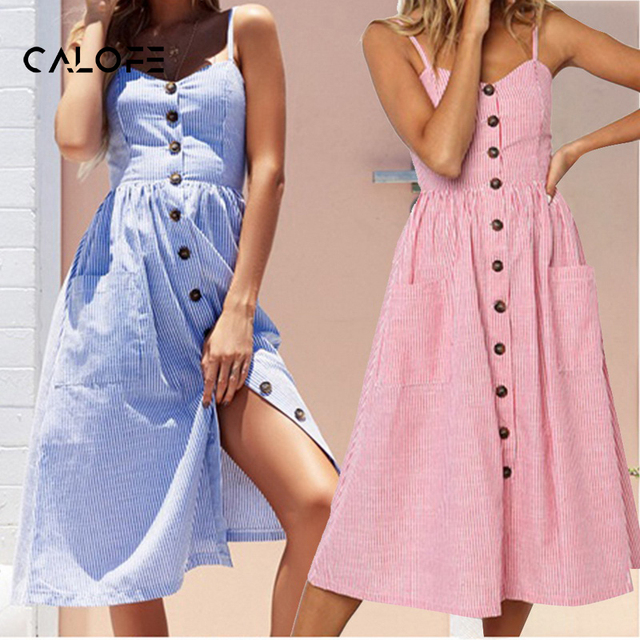 c3ff59537e6 CALOFE Summer Striped Maxi Dress Women 2018 Strap Long Beach Dresses Brand  Sleeveless Vestidos Casual Loose