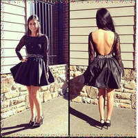 Full Long Lace Sleeve Black Homecoming Dress 2017 Sexy Backless Satin Ball Gown Prom Gowns Scoop
