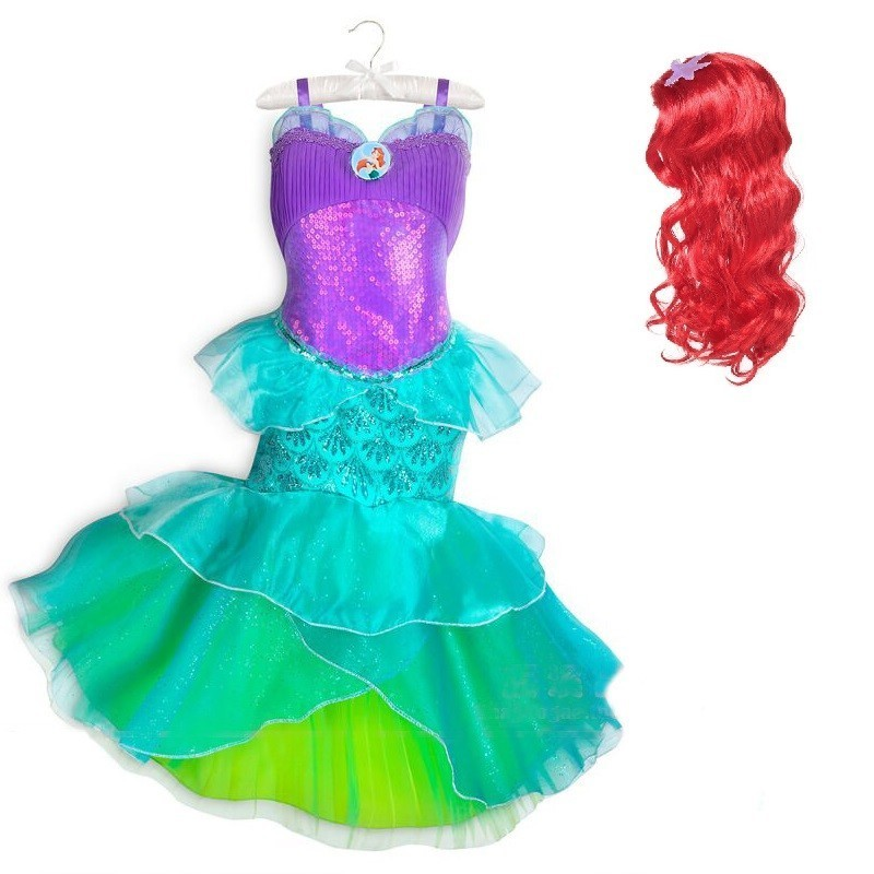 The Little Mermaid Tail Ariel Princess Dress Baby Girl child Cosplay Costume Fantasia Kids wig Christmas new year party birthday
