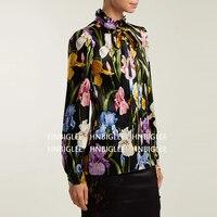 Ziwwshaoyu 2019 сезон весна лето высокого качества новая рубашка с длинными рукавами галстук бабочка короткие шелковая блузка печатных богемный р