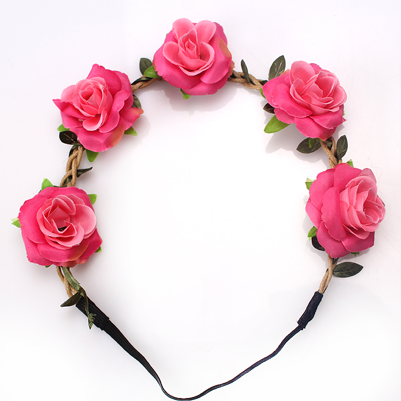 M MISM 2017 Kid Flower Headband Sweet Headwear Girl's Elastic Hair band Hair Accessories Wreath Rose Flower Hair Bows Adjustable vintage bohemian ethnic colored tube seed beads flower rhinestone handmade elastic headband hair band hair accessories