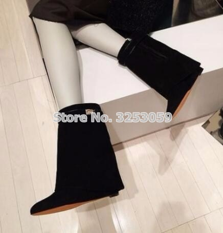 Hot Selling Ladies Mid-calf Boots Metal Shark Lock Decoration Middle Boots Wedge Heel Height Increasing Shoes Fold Over Boots discount shark lock ankle boots woman pointed toe real leather height increasing wedge mid calf boots woman fashion short boots