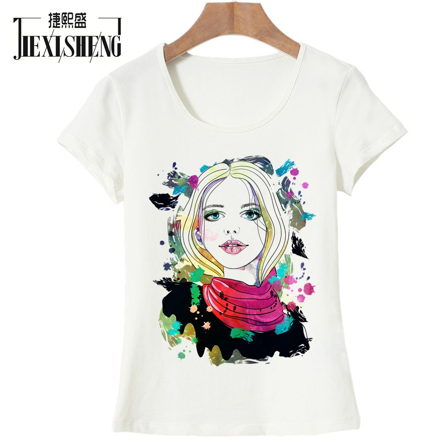 Newest Summer Women t shirt Fashion Oil painting girl Printed t-shirt casual Short sleeve o-neck top tees