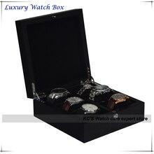 Alta calidad de 6 rejillas de madera caja de reloj de exhibición caja de almacenaje del sostenedor del organizador negro para grandes relojes de regalo navidad GC02-SP-06Z