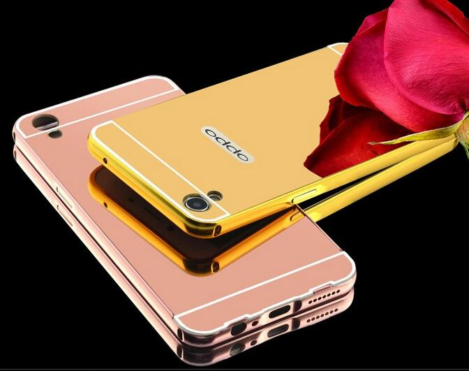 Fashion Luxury Rose Gold Mirror Phone Cases For OPPO A37 Alumimum Metal Frame shell Back Cover for Oppo a 37