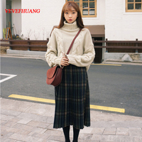 Japanese Winter Women Woolen Plaid Pleated Skirt Long British Style Retro All match Midi Skirt Women Long A Line Skirt