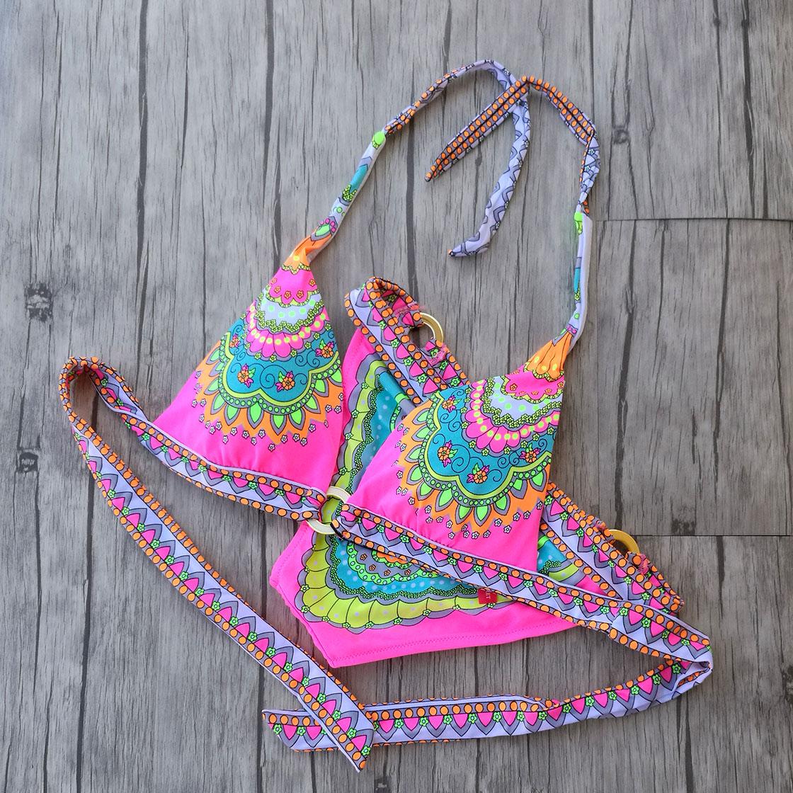 Triangle Bikini Pink Floral print Swimwear Women  Thick Small Chest Swimsuit Girl Design Secret Sexy Bikinis