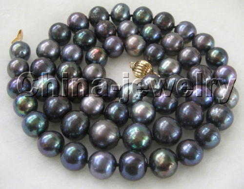 "FREE shipping > AAA 32""11-12mm natural black round freshwater pearl necklace-  ball clasp 6.07"