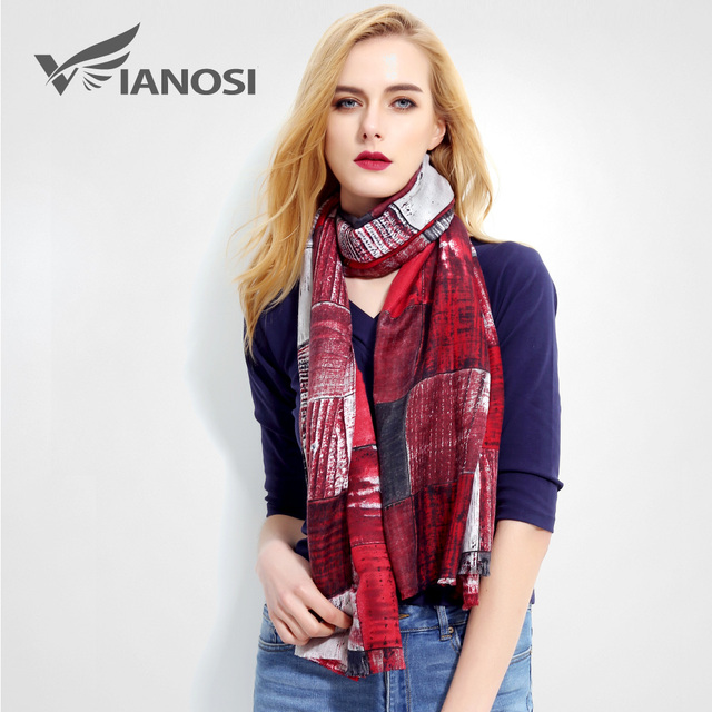 [VIANOSI] Fashion Luxury Scarves Women Brand bandana Print scarf Foulard Femme Designer Cotton Shawls Scarf VR023