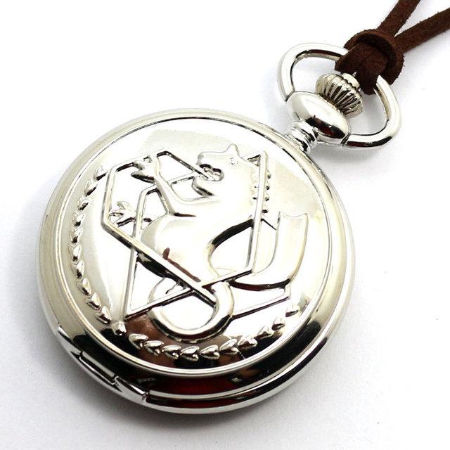 New Silver Fullmetal Alchemist Quartz Pocket Watch Necklace Leather Chain Box Bag Relogio De Bolso P421CKWB