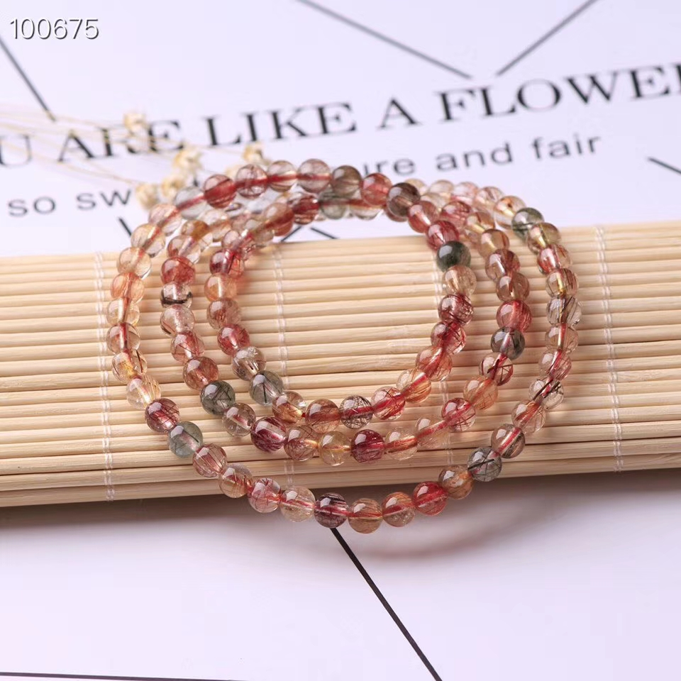 Newly Natural Copper Rutilated Quartz Colorful Crystal Bracelet Women 3 Laps Round Beads Wealthy Stone Necklace 6mm 7mm AAAAA in Bracelets Bangles from Jewelry Accessories