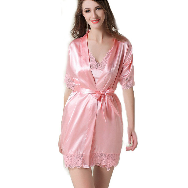 2017 Spring Sexy Silk Robe & Nightgown Lace Nightdress Suits Women 's Evening Dress Skirt Two - piece Women' s Home Service