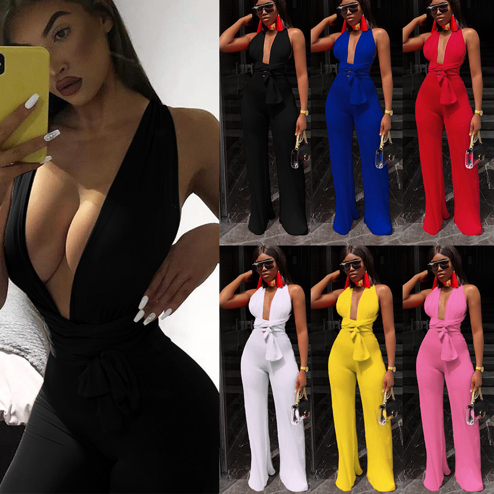 Sexy Clubwear   Jumpsuit   For Women V-neck Halter Bandage Playsuits   Jumpsuits   Party Bodysuit