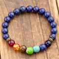 Природные лазурит камень бусины 7 чакра исцеление баланс Bracelete Feminino лава йога рейки молитва 8 мм бусины браслет с камнями