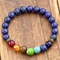 Natural Dyed Lapis Lazuli Stone Beads 7 Chakra Healing Balance Bracelete Feminino Lava Yoga Reiki Prayer 8mm Bead