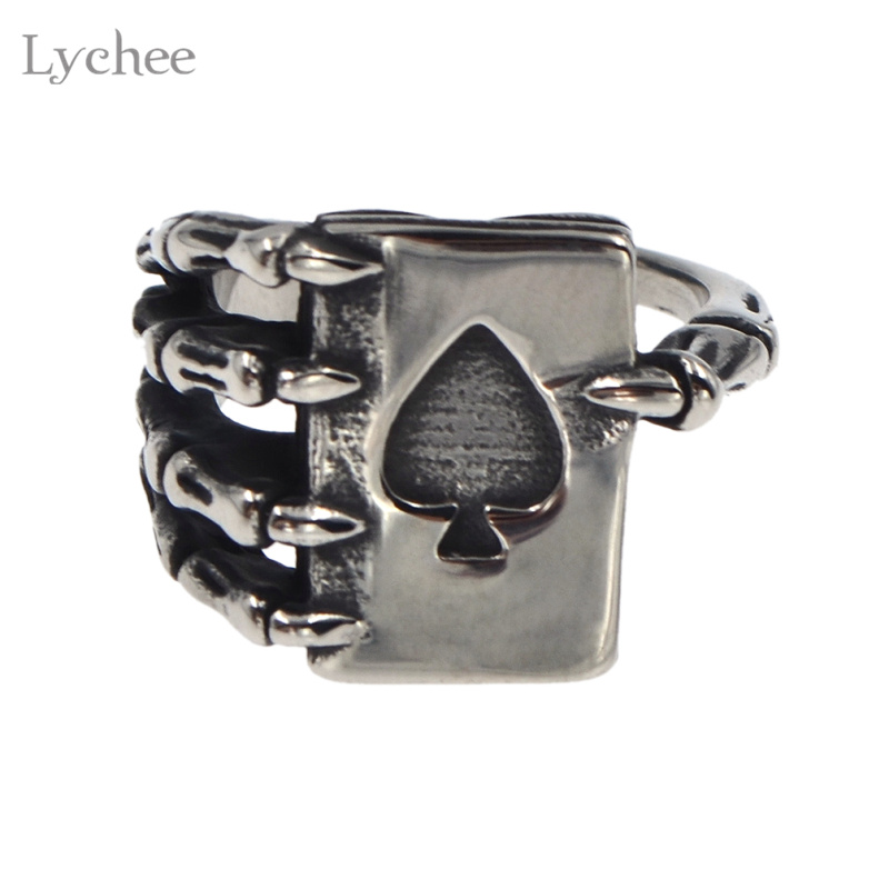 Lychee Gothic Punk Titanium steel Skull Poker Spades A Ring Silver Color Metal Mens Biker Ring Jewelry for Men