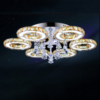Glorious flower 6 crystal ceiling light 85 265V 65W 780mm colorful led home hotel ceiling lamp remote control bar decoration