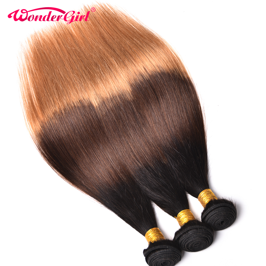 3 Bundle Deals Ombre Brazilian Straight Hair Bundles 1B 4 27 Three Tone Human Hair Weave