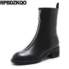 Осень коренастый круглый носок черные зимние Роскошные молния большой размер 10 Обувь лодыжки короткие Пояса из натуральной кожи 2017 Для женщин Ботинки средний каблук